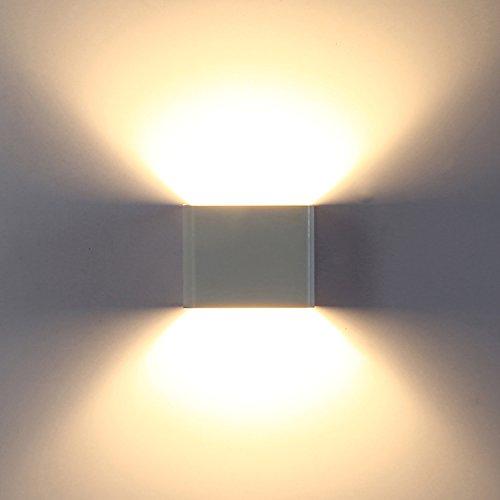 Topmo-plus 7w Applique da parete a LED bianco caldo 3000K lampada da parete di qualità alluminio Moderno lampada corridoio Su e Giù design 10 x 10 x 8 CM bianco