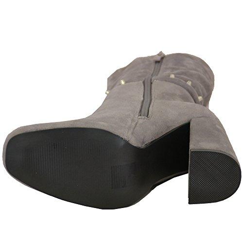 donna tacco spesso Scarponcini Chelsea Donna Camoscio LOOK caviglia BORCHIATO Scarpe ZIP INVERNO Grigio - my670