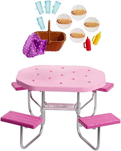 Barbie FXG40 - Möbel Spielset Outdoor Picknicktisch und Picknick Zubehör, Puppenzubehör ab 3 Jahren