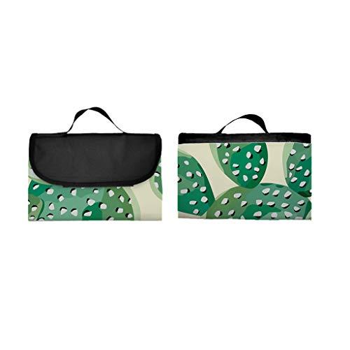 EUCoo 3D Digitaldruck Vollpolyester Oxford Tuch Picknick-Matte/Strandmatte/Feuchtigkeits-Pad - Kaktus(148x122cm)