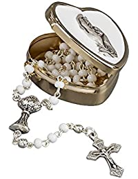 First Holy Communion. Delicate Rosary with White Beads, A Silver Goblet and a Cross in Gold Heart Tin