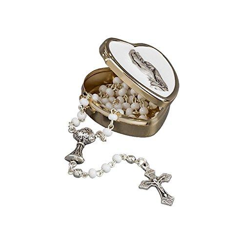 Zur ersten heiligen Kommunion... zarter Rosenkranz behüte Dich,, weisse Perlen, ein silberfarbener Kelch und ein Kreuz im goldfarbenen Herzdöschen