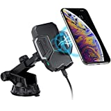 CHOETECH Fast Wireless Car Charger Mount, 7.5W Compatible with Apple iPhone XR/XS/XS Max/X/8, 10W for Galaxy S10/ Note 9/S9/S9+/ S8/ Note 8, 5W for Qi-enabled Phone Wireless Car Charger Phone Holder