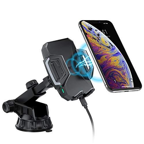 CHOETECH 7.5W/10W Fast Wireless Charger Auto, QI KFZ drahtloses Ladegerät Handyhalterung, Schnelles Aufladen zu Apple iPhone XS/XS Max/XR/X/8,Galaxy S10,Note 9/S9/Note 8/S8/S7,HUAWEI Mate 20pro usw. (Verizon-telefon-zeit)