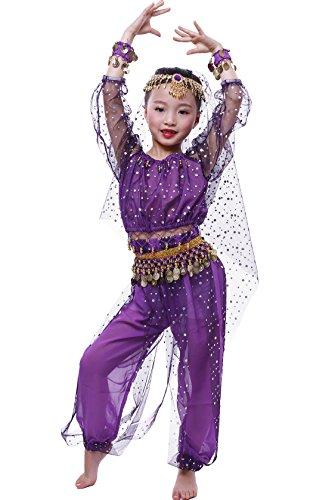 Mädchen Kleid Bauchtanz-Set Tanz Kostüm Performance Set Violett (Second Hand Tanz Kostüme)