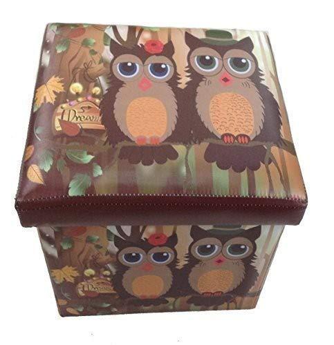 GMMH Hocker Sitzhocker Eule Original Box Aufbewahrungsbox Sitzwürfel Truhe Fußbank Sitzbank Faltbar