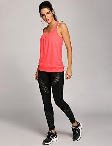 SYROKAN Damen Sport Tank Top - Essential Fitness T-Shirt Tops Orange