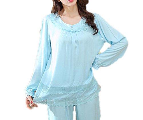 QPALZM Set Di Pigiami Per Maniche Lunghe Donna Satin Sleepwear Hedging E Pantaloni In Pizzo Cotone Blue