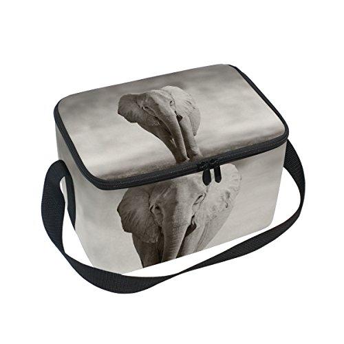 Isolierte Lunchtasche mit afrikanischem Elefanten-Muster, Kühltasche, wiederverwendbar, für Outdoor-Reisen, - Elefanten Kostüm Muster