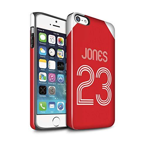 Personalisiert Individuell Fußball Vereine Trikots Kit Glanz Zähen Hülle für Apple iPhone 5/5S / Rot-Weiss Design/Initiale/Name/Text Stoßfest Schutzhülle/Case/Etui