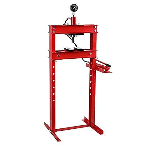 EBERTH 20 t hydraulische Werkstattpresse mit Manometer Lagerpresse Dornpresse Montagepresse Ständerpresse Richtpresse (2 Auflagebacken, Arbeitshöhe 820 mm 8-fach verstellbar, Arbeitsbreite 425 mm, großer Arbeitsbereich) rot