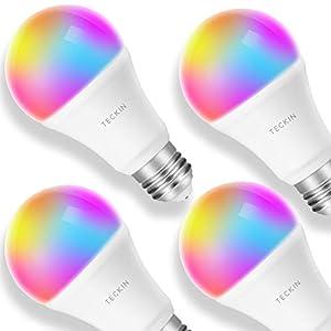 Smart LED-Lampe E27 Glühbirne, TECKIN WLAN Lampen mit 16 Millionen mehreren Farben und warmes Licht, ohne Hub, kompatibel mit Alexa und Google Assistant [Energieklasse A +] (4er Pack)