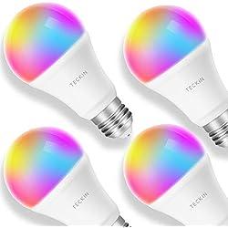 Ampoule LED Intelligente WiFi E27 à intensité variable et multicolore, Compatible avec Alexa, Echo, Google Home et IFTTT,TECKIN RGB Ampoule A19 60W 7,5W,Pas de Hub requis,4 pack