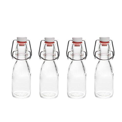 oder 50 x 100 ml Bügelflasche Bügelverschlussflasche Leere Glasflasche mit Bügelverschluss Weinflasche Schnapsflasche Essig Öl Glasflaschen 0,1 Liter (50 Stück) ()