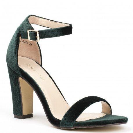Ideal Shoes - Sandales à talon carré effet velours Henola Vert