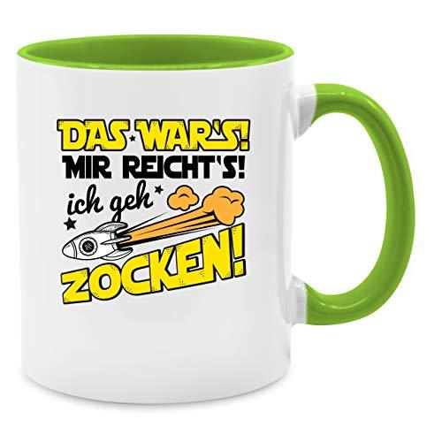 Tasse mit Spruch - Das war's Mir reicht's ich geh zocken! - Unisize - Hellgrün - Q9061 - Kaffee-Tasse inkl. Geschenk-Verpackung