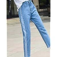 YFLTZ Pantalones de Jeans para Mujer - Cintura Alta de Color sólido, Azul Claro, 31