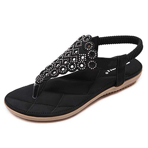 EARIAL& 2018 Woman Sandals Women Shoes Rhinestones Flat Sandals Diamond Bling Chaussure Hollowed out Sandalias Feminino Shoes Flat Black 36