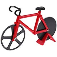 TrifyCore Cortador de Pizza Forma de Bicicleta Material de Acero Inoxidable y Plástico (Rojo)