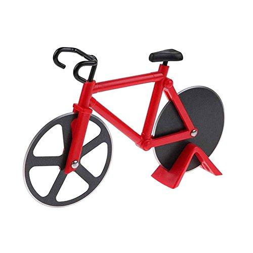 Naisicatar Pizzaschneider in Form eines Fahrrad Pizzaschneider aus Edelstahl mit Antihaftbeschichtung und Ständer Rot X 1