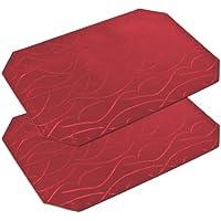 Tischsets 2 Stück, FARBE wählbar, Platzset Damast Streifen Textil, 30x45 cm, Bordeaux, Beautex
