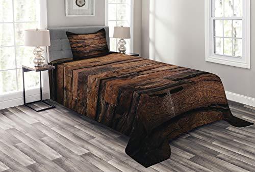 ABAKUHAUS Schokolade Tagesdecke Set, Raue Dunkle Holz, Set mit Kissenbezug Klare Farben, für Einselbetten 170 x 220 cm, Dunkelbraun Braun -