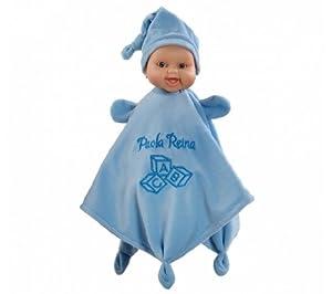 Paola Reina - Doudou, muñeca de Vinilo, 34 cm, Color Azul (01184)