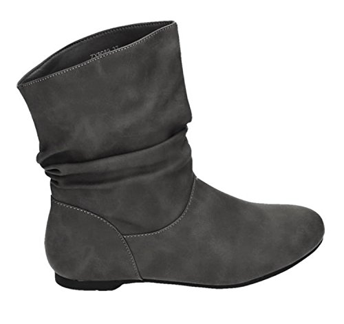 King Of Shoes Damen Stiefeletten Cowboy Western Stiefel Boots Flache Schlupfstiefel Schuhe 89 (40, Grau) (Damen Cowboy-stiefel, Grau)