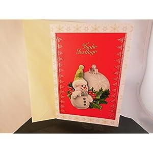 Weihnachtskarte Frohe Festtage Klapp Karte Glückwunschkarte mit 3D Winter Motiv Handmade Unikat