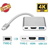 Sky Tech® Usb 3.1 Type-C To Hdtv Hdmi 4K Video Converter For New MacBook ChromeBook Pixel HDTV Projector And More Type-C Devices/Usb3.0 Fast Charging Port For MacBook /Type C Converter Compatible With New Macbook/Chromebook Pixel/Dell Xps13/Yoga 900/L