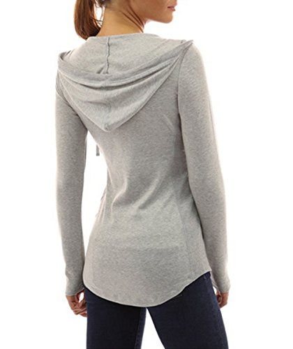 Miracleoccur Printemps Automne Femme Casual Moderne Tops à Manches Longues Svelte Sweats à Capuche Pulls Haut Sweat-Shirts Chemisiers Gris clair