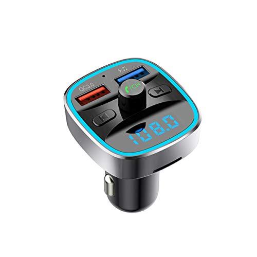 -Transmitter für Auto mit QC3.0, [Upgraded 2019] Kfz-Radio-Adapter, Empfänger, Freisprechanlage und Dual-USB-Ladegerät, unterstützt TF-Karte und USB-Disk, Schwarz ()