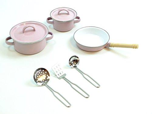 8-teiliges-koch-set-fr-kinderkchen-2-tpfe-1-pfanne-3-kochhelfer-aus-metall-emaille-farbe-rosa-ab-3-j
