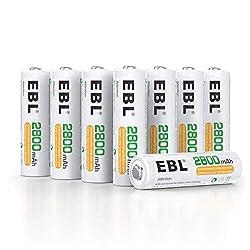 EBL AA Akku 2800mAh Mignon NI-MH wiederaufladbare Batterien mit hoher Kapazität 8 Stück, Keine Memory-Effekt mit Aufbewahrungsbox