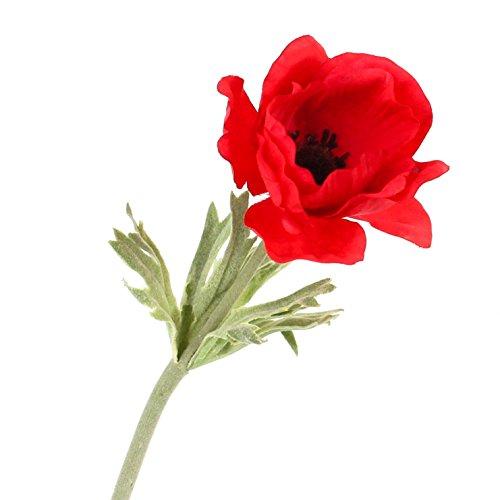 artplants Set 6 x Künstliche Anemone, rot, 30 cm, Ø 7 cm – Kunstblume/Dekoblume