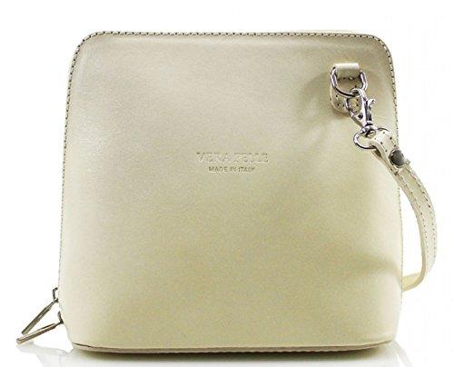 H&G Vera Pelle Trapezoid Shaped Mini Italian Real Leather Cross-Body Handbag (Purple) Beige