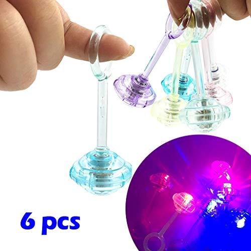 Yagii 6 Stück Mini Finger Gyro Spielzeug Im Dunkeln Leuchten Leuchtendes Spielzeug für Party LED-Licht Flashing Spielzeug für Kinder und Erwachsener (Dark Supplies The Party In Glow Birthday)