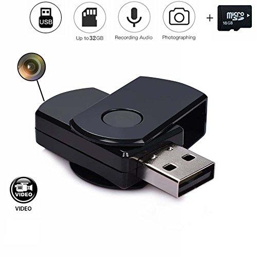 codomoxo® Schlüsselanhänger Schlüssel USB mit Mini Kamera Spion HD Infrarot Bewegungserkennung USB-Stick ausziehbarem Micro-Video Recorder mit seinem, 16 Go