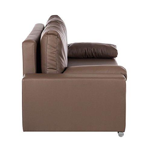 Kunstleder Sofa Schlaffunktion 3 Sitzer Couch Garnitur Schlafsofa Schlafcouch Taupe Mit Bettkasten