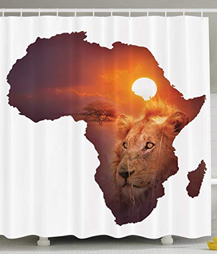 JIEKEIO Safari Decor African Art Wildlife Shower Curtain Continent Lion Sunset Digital Print High Resolution Picture Photography Brown and White Shower Curtains
