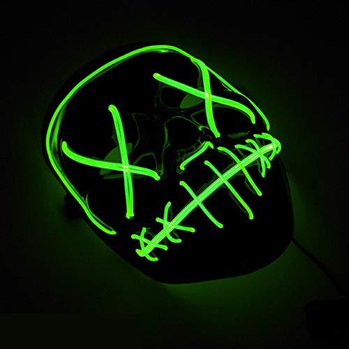 Imooch Halloween LED Masken Erwachsene für Party Kostüm, Weihnachten, Cosplay Grimace Festival Party Show (hellgrün)