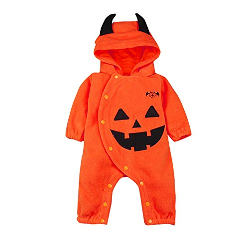 Honestyi BabyBekleidung Kleinkind Infant Baby Mädchen & Jungen mit Kapuze Strampler Overall Halloween Outfits Kleidung (80,Orange)