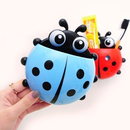 Moradiya Fresh 2 PC Cartoon Ladybird Insect Toothpaste & Toothbrush Holder With Suction Cup, Assorted Colour