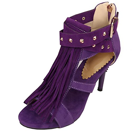 Oasap Women's Open Toe Tassel Rivet Stiletto Sandals Purple