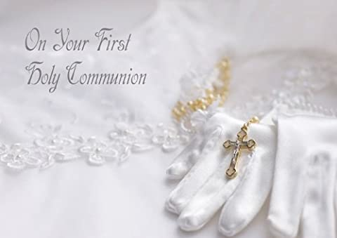 Communion Glove - Elegant 'First Holy Communion' greeting card from Blue Frog