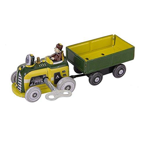 Tractor De La Vendimia Y El Juguete Lata Coleccionable Remolque Con Llave De Cuerda