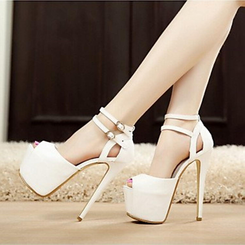 Zormey Las Mujeres Talones Del Club De Verano Zapatos Pu Parte &Amp; Vestido De Noche Stiletto Talón Casual Blanco...