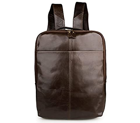 BAIGIO Top Grain Leather Laptop Backpack Smooth Finish Casual Daypack Rucksack, Coffee