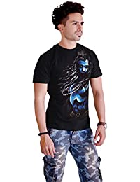 Sketch Lion Stylish Hand Printed T-Shirt- Round Neck LLord Shiva Tandava Look Print T-Shirt For Men-Black