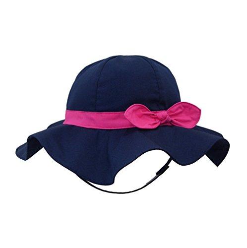 Pormow Frühjahr/Sommer Baumwolle Baby Mädchen Bowknot Sonnenhut/Beach Hut/Outdoor Hut (52cm/3-4y, Dunkelblau) -